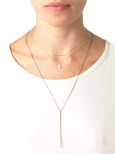 Diane Kordas Diamond & gold bar necklace
