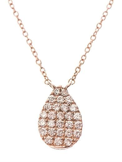 Diane Kordas Diamond & rose-gold teardrop necklace