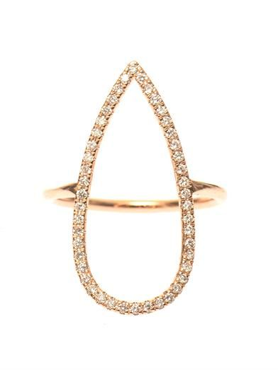 Diane Kordas Diamond & rose-gold pear ring