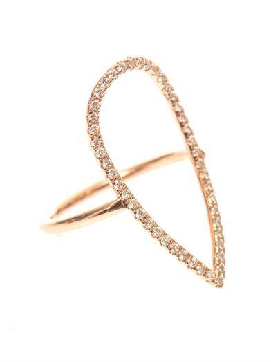 Diane Kordas Diamond & rose-gold pear ring