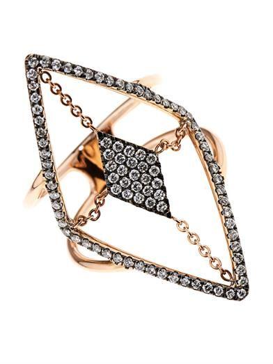 Diane Kordas Diamond & rose-gold floating ring