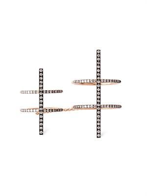Diamond & rose-gold bar ring