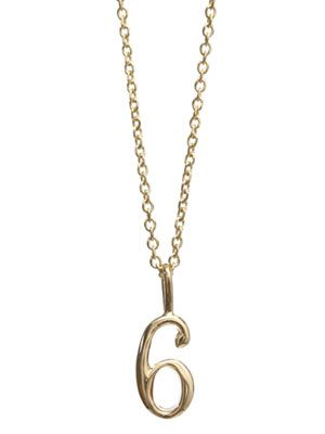 Yellow gold #6 charm necklace