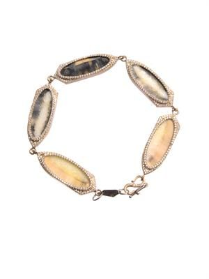 Diamond, fossilised walrus & gold bracelet