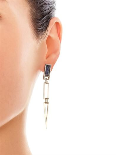 Monique Péan Diamond & fossilised dinosaur earrings
