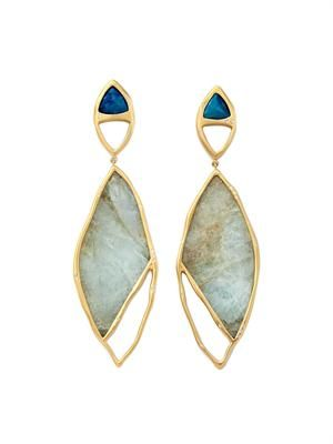 Diamond, aquamarine & gold earrings