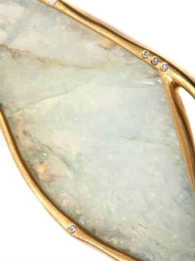 Monique Péan Diamond, aquamarine & gold earrings