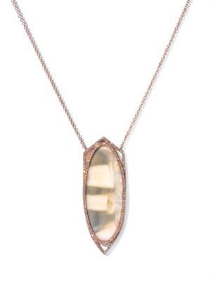 Diamond, fossilised walrus & gold necklace