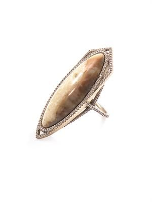Diamond & fossilised walrus ivory ring