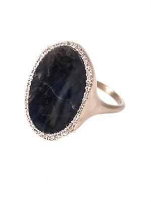 Diamond, spectrolite & gold ring