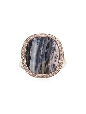 Diamond, fossilised mammoth & gold ring