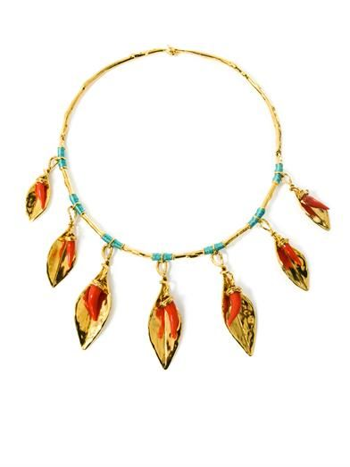 Aurélie Bidermann Monteroso gold-plated leaves necklace