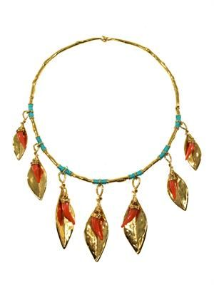 Monteroso gold-plated leaves necklace