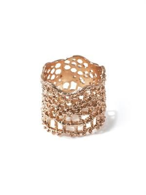 Rose gold-plated lace ring