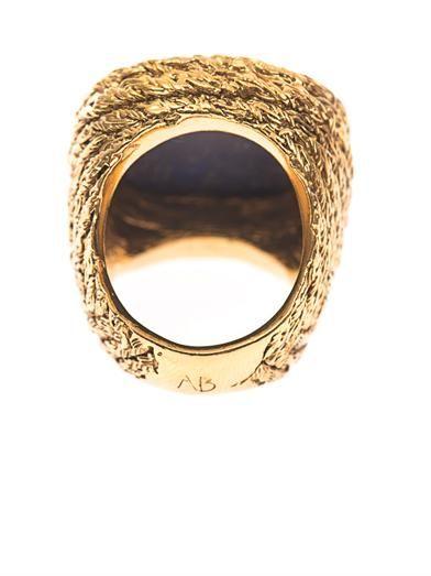 Aurélie Bidermann Miki lapis and gold-plated ring