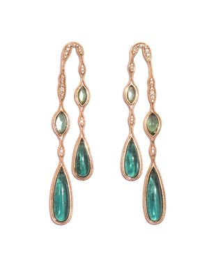 Tourmaline, diamond & gold earrings