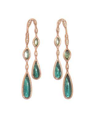 Tourmaline, diamond & gold earrings