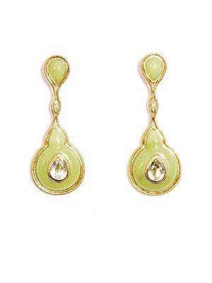 Serpentinite and diamonds earrings