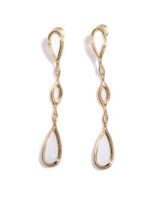 Opal, diamond & yellow gold fluid earrings
