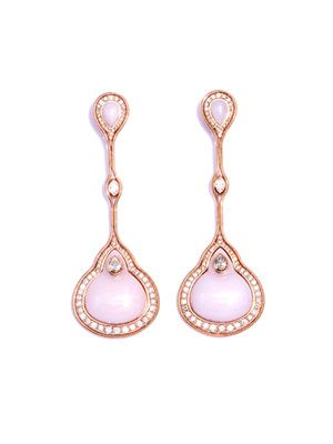 Pink opal, diamond and rose gold earrings