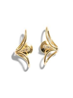 Diamond and yellow gold lobe earrings