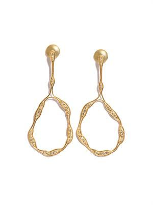 Diamond and yellow gold trapeze earrings