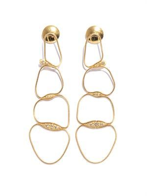 Diamond and yellow gold fluid chain earrings