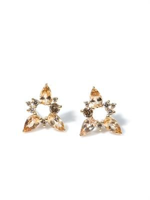 Diamond, topaz and gold spark earrings