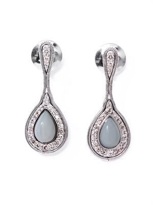 Diamond, opal & white gold fluid drop earrings
