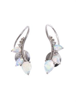 Diamond, opal & white gold electric loop earrings
