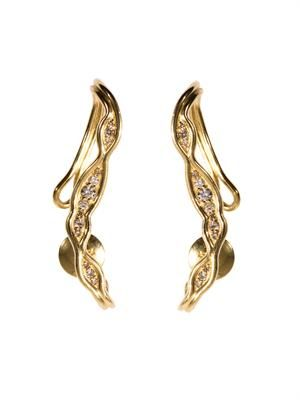 Diamond and gold fluid ear cuffs