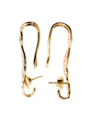 Fernando Jorge Diamond and gold fluid ear cuffs