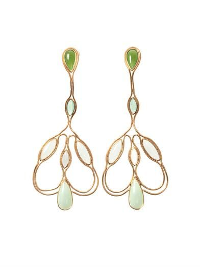 Fernando Jorge Aquamarine, quartz, jade & gold earrings