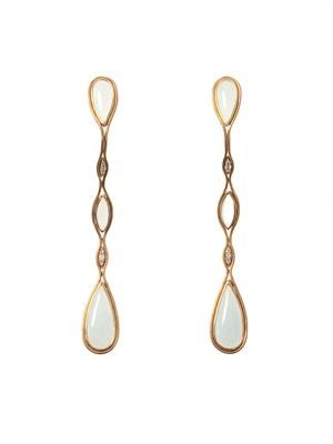 Diamond, aquamarine & gold Fluid earrings