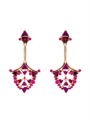 Ruby, rhodolite & rose-gold earrings