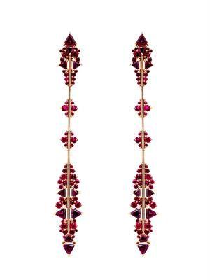 Ruby, rhodolite & rose-gold earrings