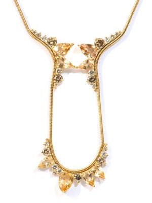 Diamond, topaz & gold electric necklace