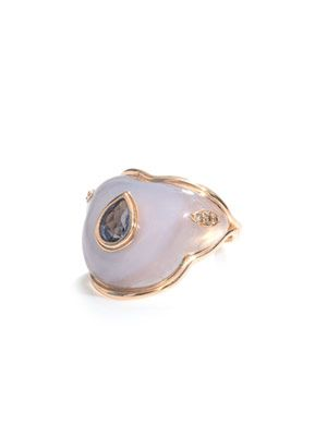 Chalcedony, diamond & gold ring