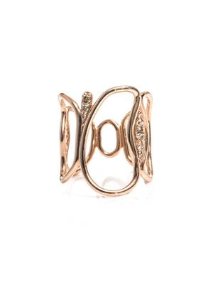 Diamond and rose gold fluid ring