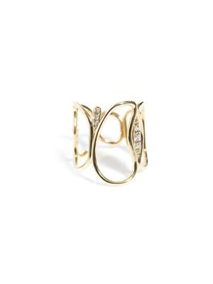 Diamond and yellow gold fluid band ring