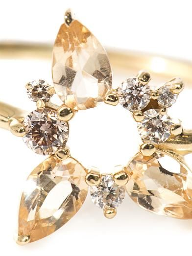 Fernando Jorge Diamond, topaz and gold electric spark ring
