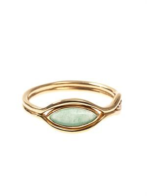Diamond, green-quartz & gold Fluid ring
