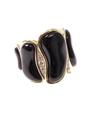 White-diamond & onyx ring