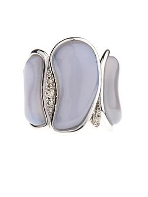 Diamond, chalcedony & gold ring