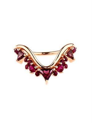 Ruby, rhodolite & rose-gold ring