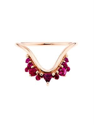 Ruby, rhodolite & rose-gold ring