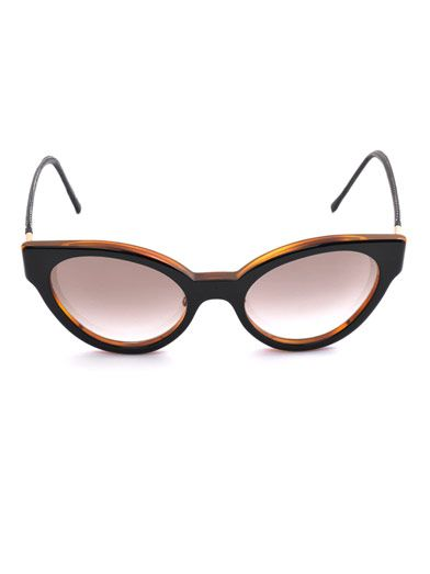 Cutler and Gross Cat-eye leather trim sunglasses