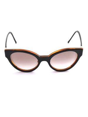 Cat-eye leather trim sunglasses