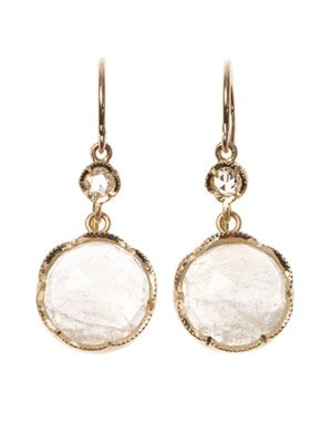Diamond, moonstone & gold earrings