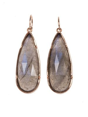 Labradorite & rose-gold earrings